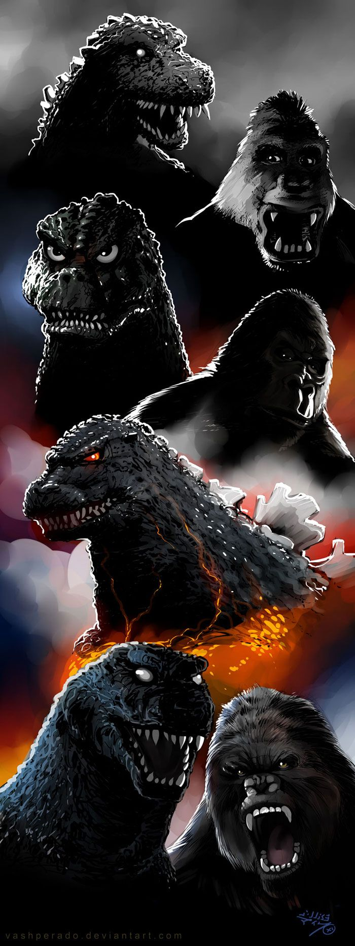 Evolution of Godzilla and King Kong fan illustration by Vashperado