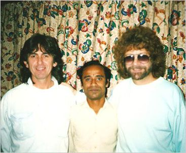 George Harrison and Jeff Lynne pose with an Indian musician in 1989 during the sessions for 'Armchair Theatre'.  Photo courtesy of Phil Hatton and ELO Discovery Page