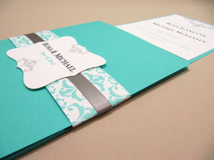 Pocketfold Wedding Invitation Suite, Tiffany Blue   Sample By  JutingDesignStudio On Etsy