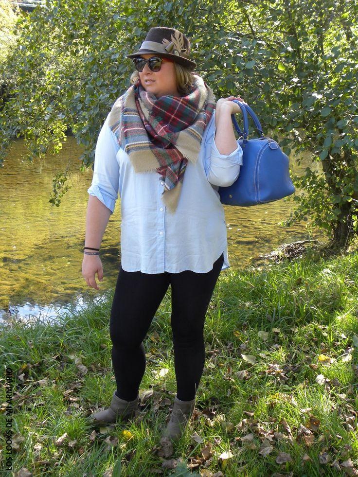 Look DIA DE CAMPO. LEGGINGS & CAMISA OVERSIZE LOS LOOKS DE MI ARMARIO.  CURVY Girl· Trendy Curvy - Plus Size Fashion Blog #loslooksdemiarmario #winter #primark #outfitcurvy #invierno #look #lookcasual #lookschic #tallagrande #curvy #plussize #curve #fashion #blogger #madrid #bloggercurvy #personalshopper #curvygirl #lookinvierno #lady #chic #looklady #lookcasual #leggings #camisaoversize #azulbebe #camisaancha #look #outfit  #workinggirl #lookmontaña #lookcampo #tartan #bufandatartan
