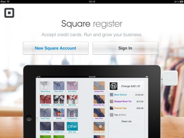 SQUARE REGISTER    Manage and grow your business with the Square Register app and accompanying free Square credit card reader. It's the simplest way to accept credit cards and bring new customers to your door.