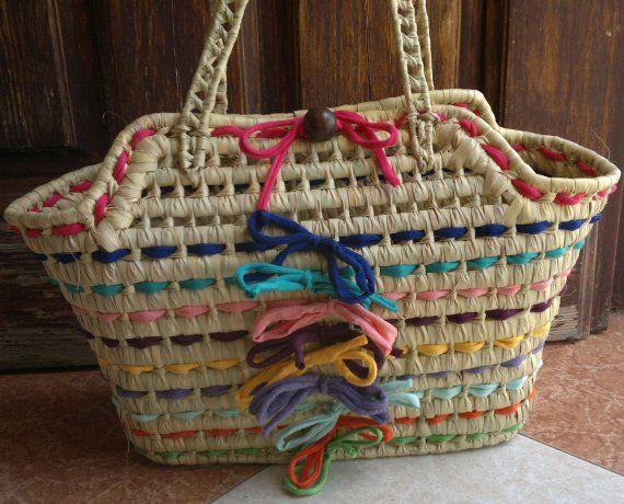Bolso-cesta de mimbre trapillo de colores / MARULA - Artesanio