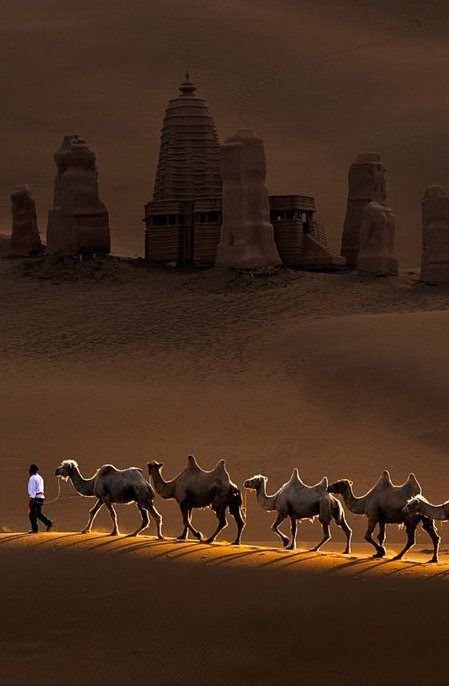 .Buddhist  stupas in the central Asian desert.