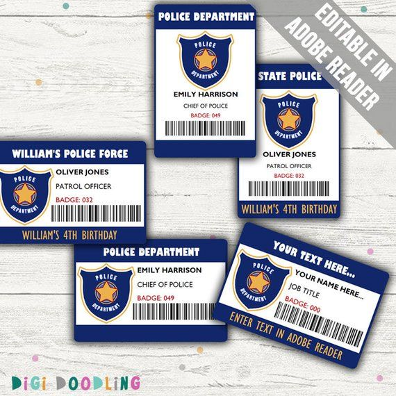 Police Id Badge Police Id Tag For Pretend Play Or Police Etsy Police Birthday Party Police Birthday Kids Police Birthday Party