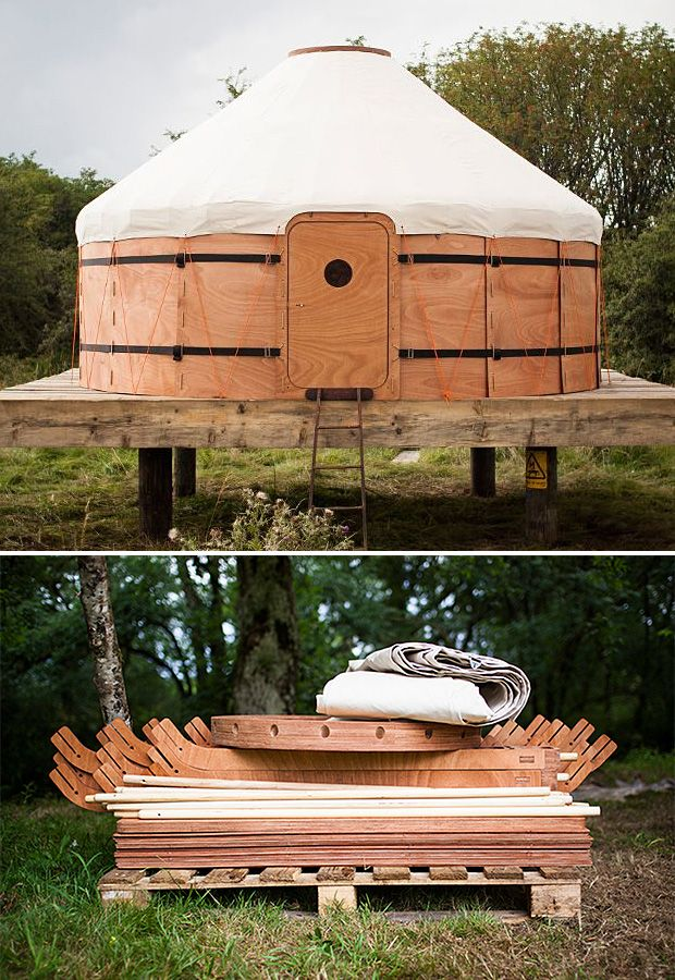 Jero Wood & Canvas Shelter This modular yurt kit assembles quickly & easily, then packs flat to fit in the back of your truck for transport. The 12-foot diameter, 135 sq. ft. yurt will make a perfect portable summer cabin or give you an easy way to set up a temporary guestroom in the backyard.