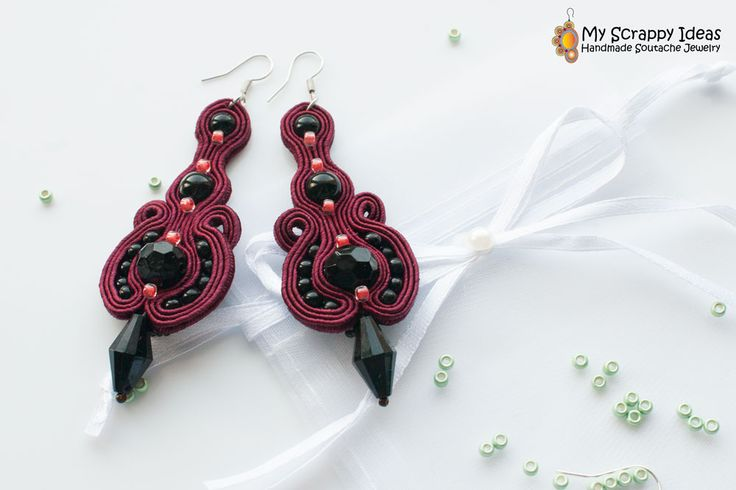 Simple and elegant evening soutache earrings by My Scrappy Ideas. Two-sided, super-lightweight, original design, handmade!