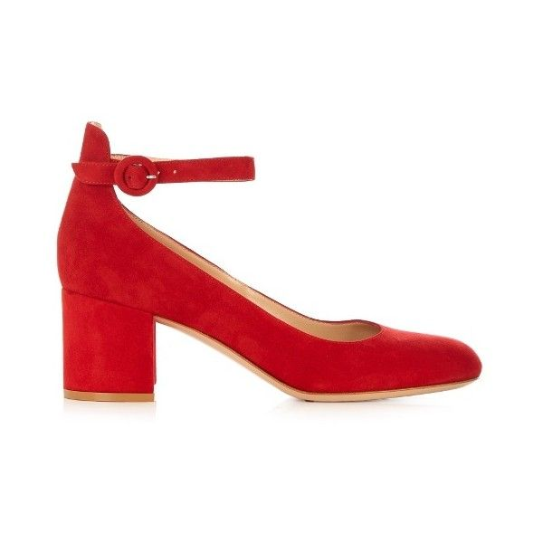 Gianvito Rossi Greta block-heel suede pumps ($725) ❤ liked on Polyvore featuring shoes, pumps, red, suede pumps, gianvito rossi pumps, red pumps, block heel pumps and red mary jane pumps