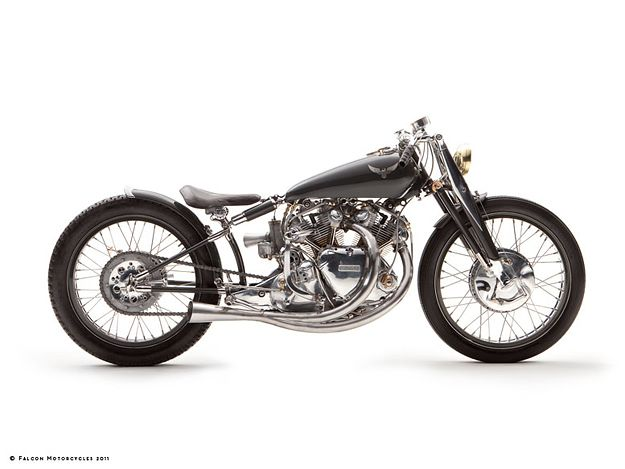 """The third in Falcon Motorcycles' """"Concept 10"""" series of bikes: the extraordinary Black Falcon, based on a 1952 Vincent Black Shadow."""