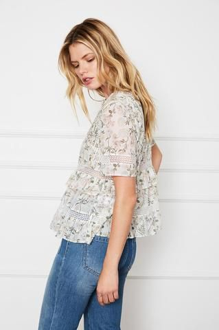 Anine Bing Floral Frill Top