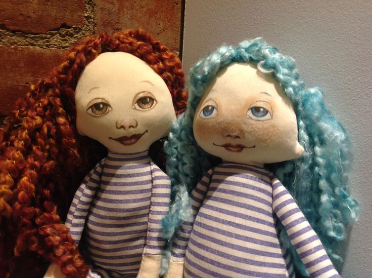Prototypes for a new style of doll. Still fiddling with the pattern, enjoying painting new faces. Next up: clothing...