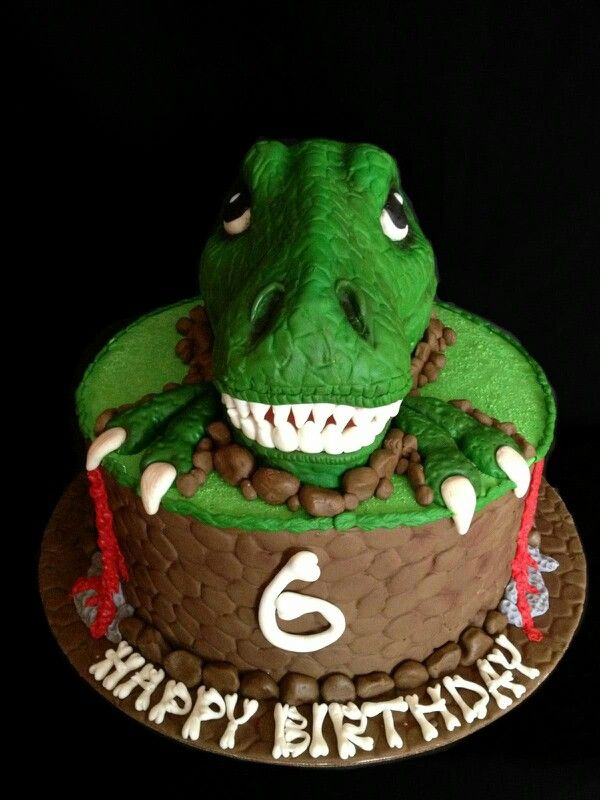 3D T-Rex Dinosaur Cake I made for a little boy who was turning 6 years old... he is a big fan of T-Rex Dinosaurs !!! He absolutely loved this cake!!!