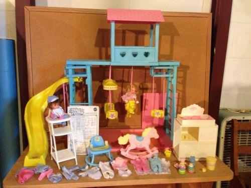 Barbie Heart Family Swing Set Playground Mom Dad Baby Rocking Horse High Chair | eBay