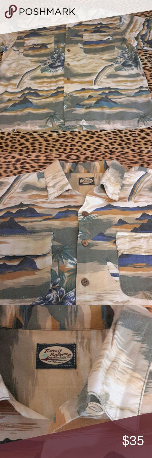 Tommy Bahama men's Hawaiian shirt. Sz. XL Tommy Bahama men's Hawaiian shirt. Sz. XL. Nice cond. No stains... no rips. It does not have the size tag, but it is an XL for sure. All else good. Original Tommy B. Not sure if material is part silk, that tag was on size label, fell off. But it is really soft material.  XL for sure 100%. Tommy Bahama Shirts Tees - Short Sleeve
