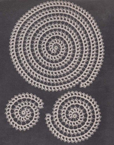 PDF Spiral Doily Set Crochet Pattern Scroll Doilies | hollywoodpatterns - Craft Supplies on ArtFire