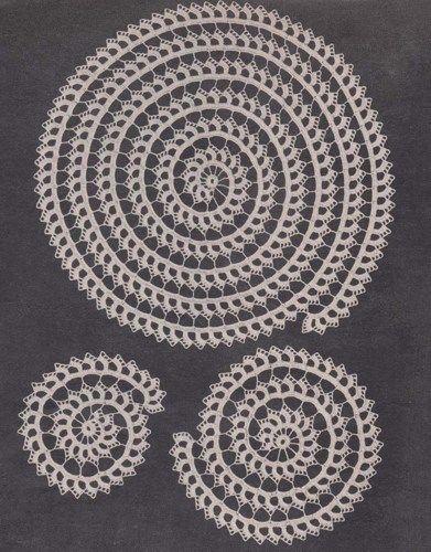 PDF Spiral Doily Set Crochet Pattern Scroll Doilies | hollywoodpatterns - Craft Supplies on ArtFire