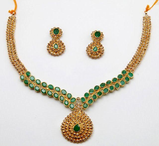 Jewellery Designs: Simple Emerald Uncut Set 38 grams