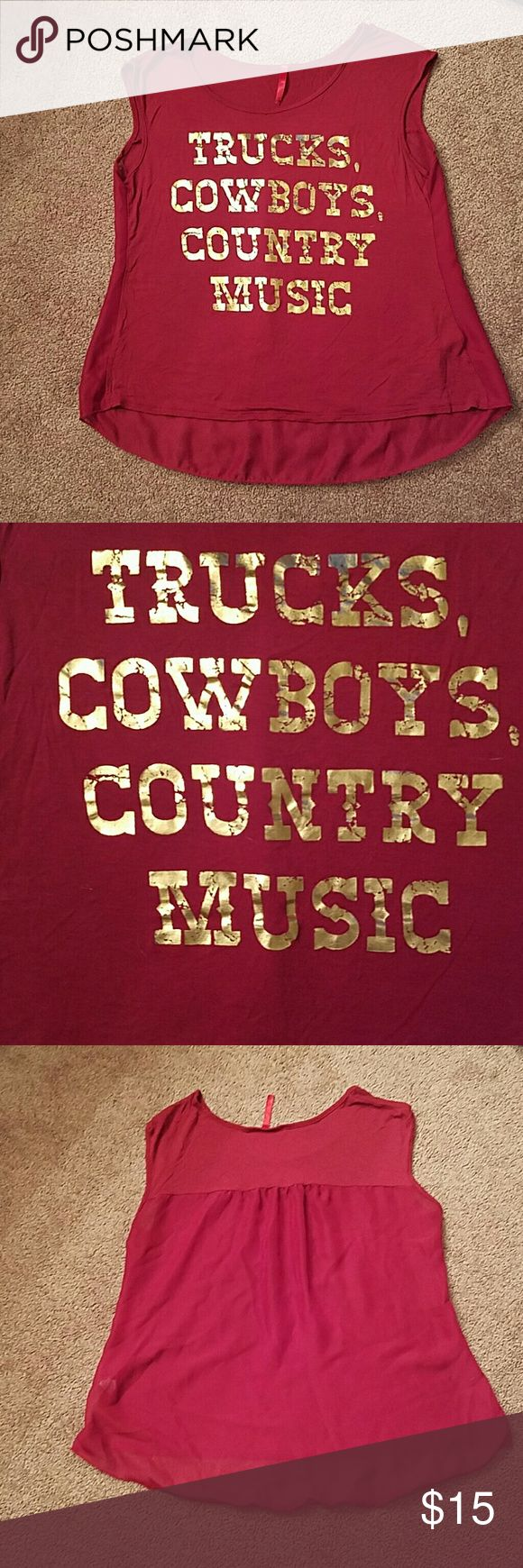 Trucks, cowboys, country music maroon tee Maroon with gold lettering. Back is sheer. Sleevesles/ short sleeve. Great for country music and festivals. No sign of wear or tear. Tops Tees - Short Sleeve