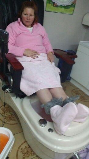 Enjoing a pedi and a parrafin wax treatment