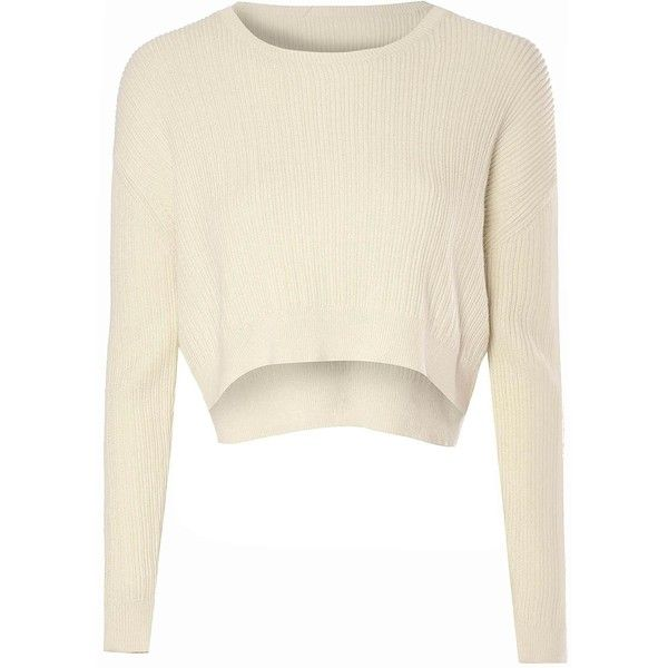 Cream Cropped Knitted Jumper ($39) ❤ liked on Polyvore featuring tops, sweaters, shirts, crop top, long sleeves, cream, long sleeve crop top, ribbed crop top, white crop shirt and white cropped sweater