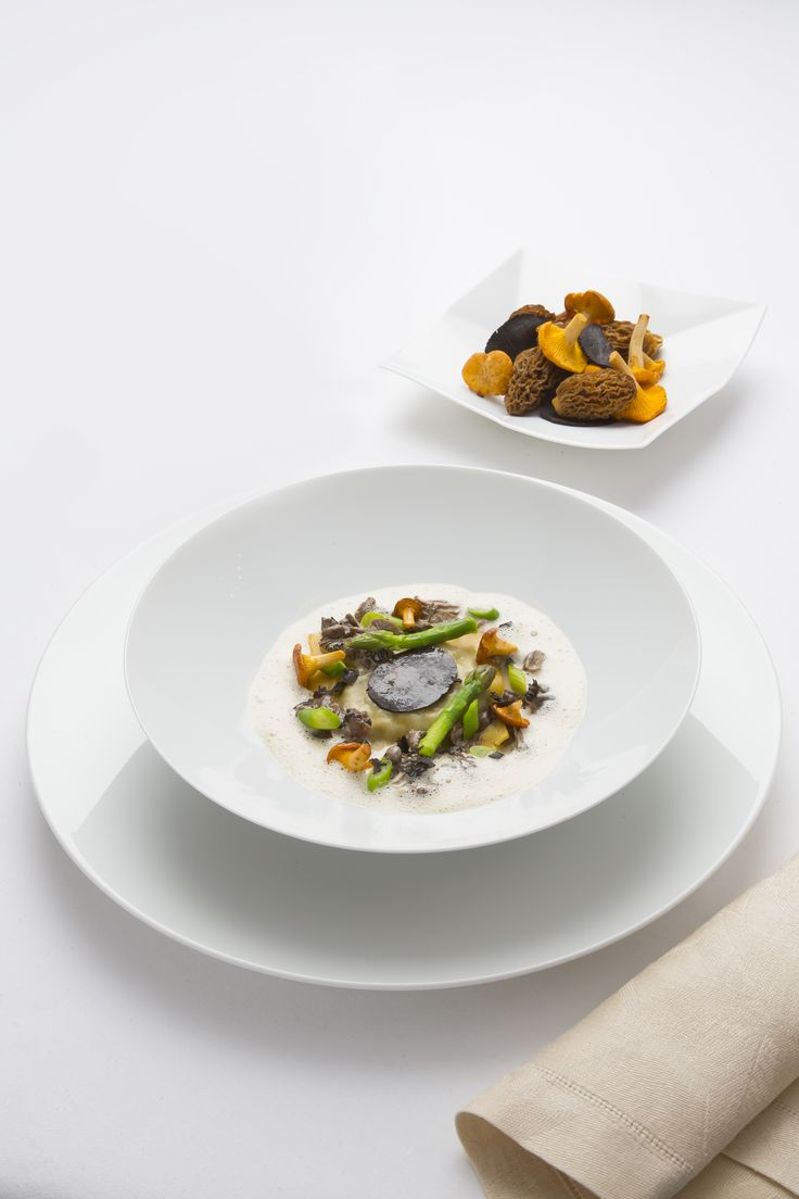 54. Les Pres d'Eugenie - The Soft Pillow of Morels, Wild Mushrooms and Asparagus Tips. Presented by #greygoose