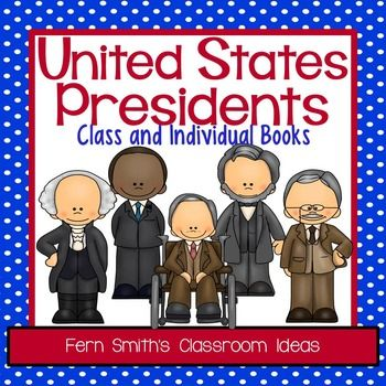 #Presidents: United States Presidents Book Perfect for Presidents' Day - Kindergarten and First Grade Version Use for an Entire Presidents Class Book or Individual Presidents Books - Also makes terrific Presidents Day bulletin board displays! #TpT #FernSmithsClassroomIdeas $paid