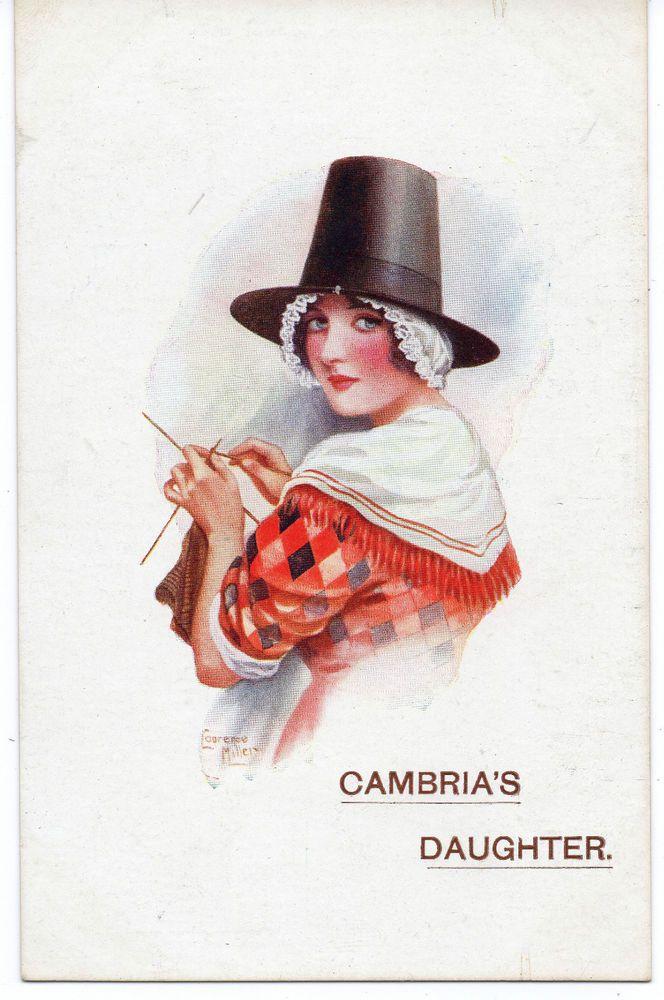 "WW1:  ARTIST:LAURENCE MILLER POSTCARD: PATRIOTIC. ""CAMBRIA'S DAUGHTER"""