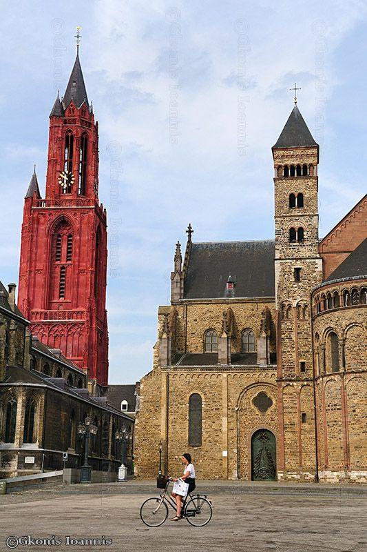 the red brick tower of Sint-Janskerk (St. John's Church) & Sint-Servaasbasiliek, Maastricht, Netherlands