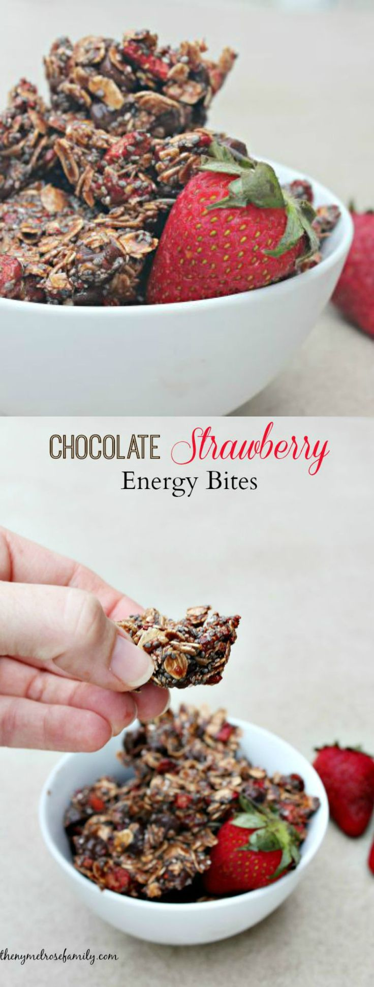 Chocolate Strawberry Energy Bites are the perfect healthy snack for a quick pick me up that are gluten-free and absolutely delicious!