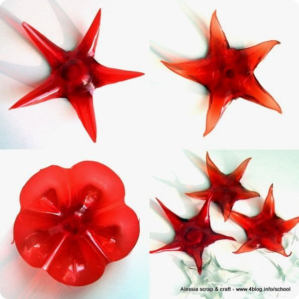 -50 Days to Christmas: tutorial stars PET plastic lovely christmas stars melted with candle lighter, might be easier to use hole punch, bradal before melting as plastic bottle thinner at this stage.  Note though hole will shrink also.