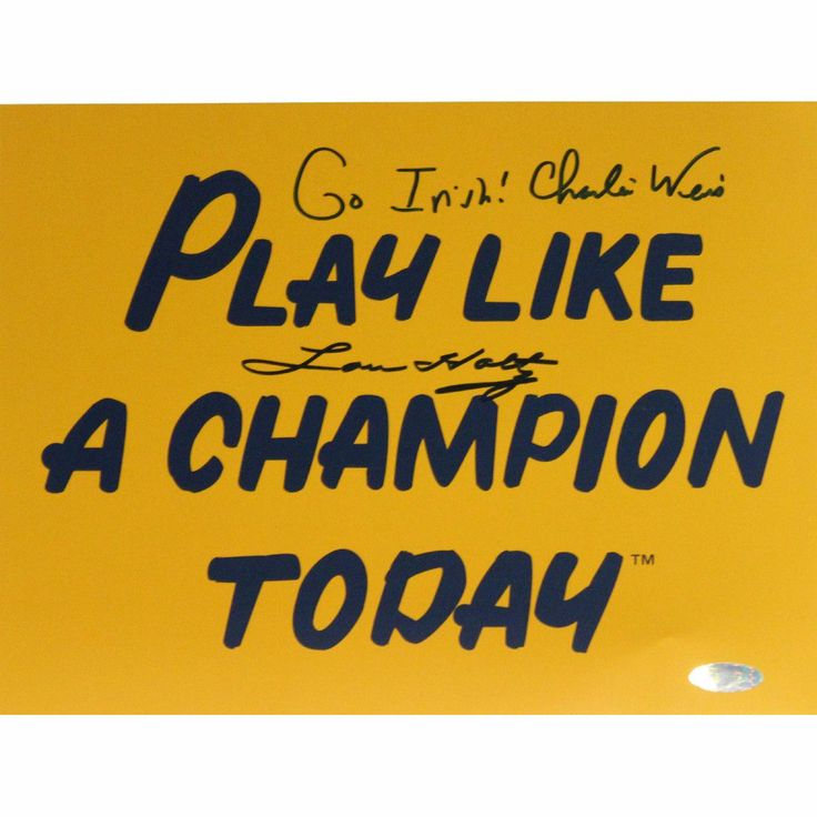 Lou Holtz Charlie Weis Dual Signed Play Like A Champion Today 8x10 Photo w Go Irish Insc. by Weis - Lou Holtz is one of the greats when it comes to college football coaches. He coached six different teams and led Notre Dame to an NCAA Championship in 1988. Retiring with 242 career wins Holtz is now a television analyst for ESPN. Charlie Weis graduate of the University of Notre Dame made his name in the coaching world as the offensive coordinator of the New England Patriots. After helping…