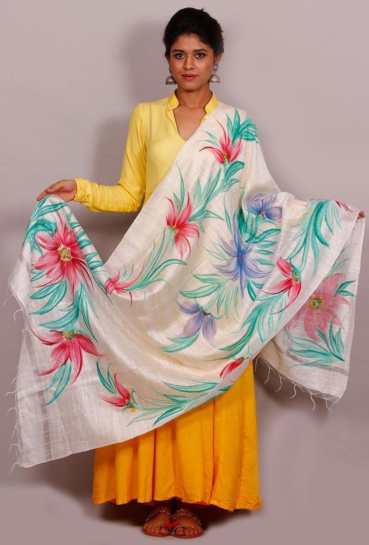 "Buy online Tjori's latest "" The Floral Story"" cotton silk dupatta # Hand painted dupattas # Fabric painting designs # sarees,#dupatta ttps://www.tjori.com/accessories/handpainted-dupattas/asah-floral-hand-painted-dupatta/"