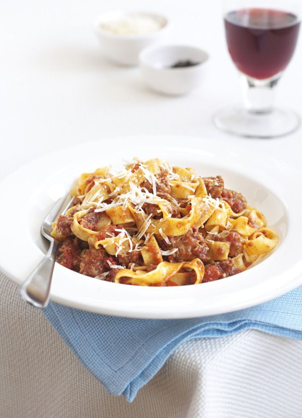 Pappardelle with sausage, fennel and red wine