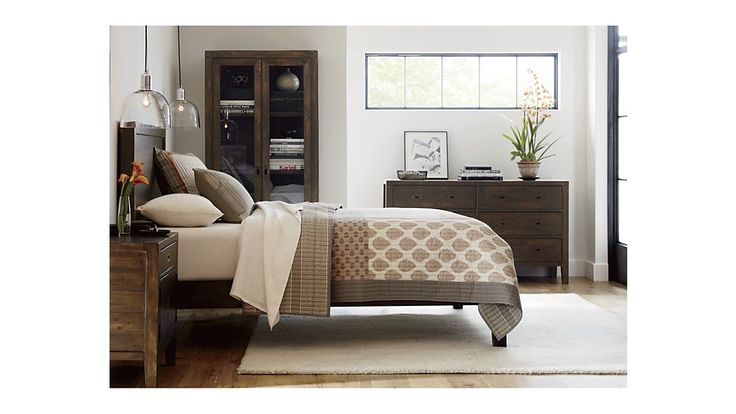 Morris Chocolate Brown Bed | Crate and Barrel