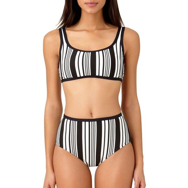 Anne Cole Women's Striped Bikini Top ($50) ❤ liked on Polyvore featuring swimwear, bikinis, black white, anne cole swimwear, black and white bikini, black and white striped bikini, tankini tops and black and white striped bikini bottoms