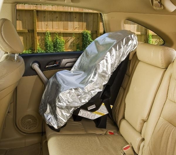 Mommy's Helper Car Seat Sun Shade $6.99. Heat-deflecting cover lowers temperatures by an average of 26 degrees! Definitely need this for Texas summers.