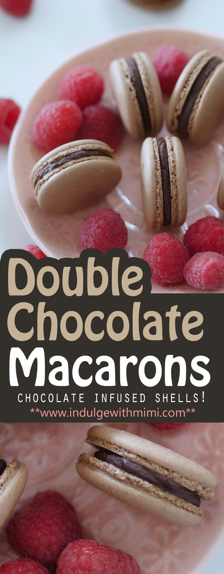 Easy way to INFUSE chocolate flavor right into your macaron shells! Plus recipe for the chocolate Ganache filing as well.