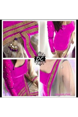 Get this ethnic Pink Velvet Dress Material to embrace yourself.