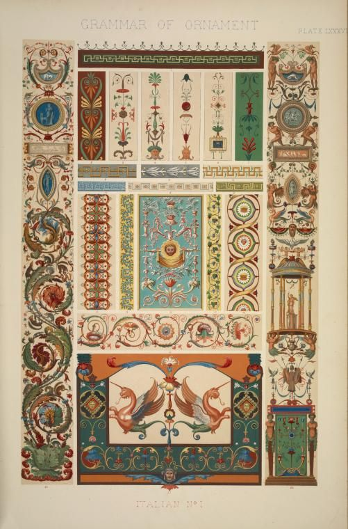 Italian Ornament no. 1: Pilasters and ornaments from the loggie of the Vatican, reduced from the full size paintings at ... (1856)