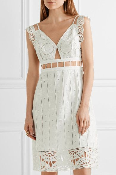 Opening Ceremony - Cutout Broderie Anglaise Cotton Mini Dress - White - US6