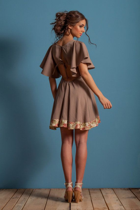 High waist skater dress chocolate brown dress by LeMoutonBleuShop