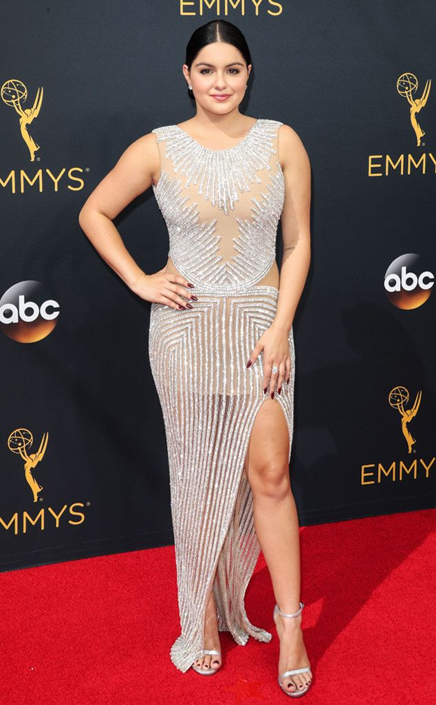 2016 Emmys: Ariel Winter is wearing a silver embellished Yousef Al-Jasmi dress with a slit. Glamorous!