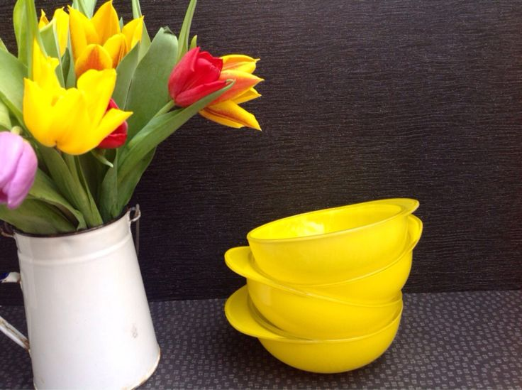 1958 JAJ Pyrex set of Four Jocky cap bowls  in Primary Yellow Sprayware Never Used by Onmykitchentable on Etsy https://www.etsy.com/listing/232230821/1958-jaj-pyrex-set-of-four-jocky-cap
