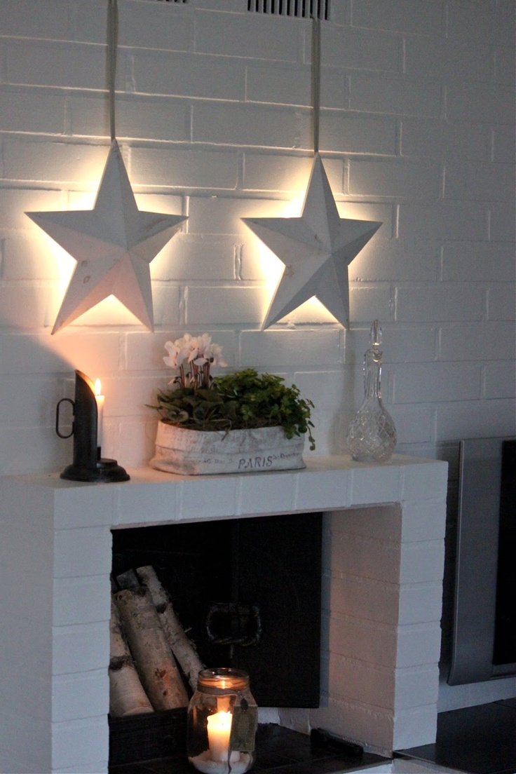 Note to self... three stars and use red, white, & blue lights behind each one.. love this idea