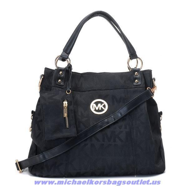 Michael Kors Classic Monogram Removable Strap Large Black Totes Outlet With Price For You