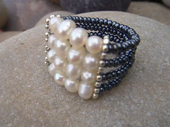 Handmade Pearl Ring - Pearl Cocktail Ring - Chunky Beaded Ring - Sterling Silver - Custom Band - Bridesmaid gift    www.alissab.com  www.etsy.com/shop/alissabcustomjewelry