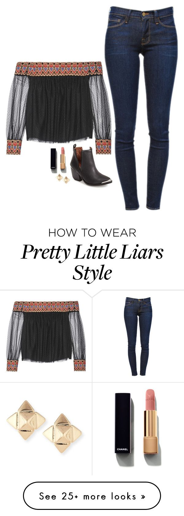 """Hanna Marin Inspired Outfit"" by daniellakresovic on Polyvore featuring Alice + Olivia, Chanel, Frame Denim and Valentino"