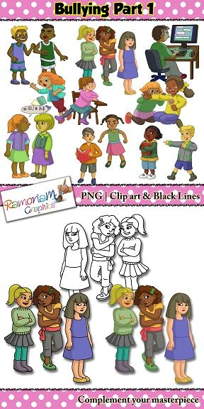 50% OFF till Sep. 27th! Bullying Clip art depicting realistic and unique children. Verbal bullying, social bullying, physical bullying & cyber bullying.