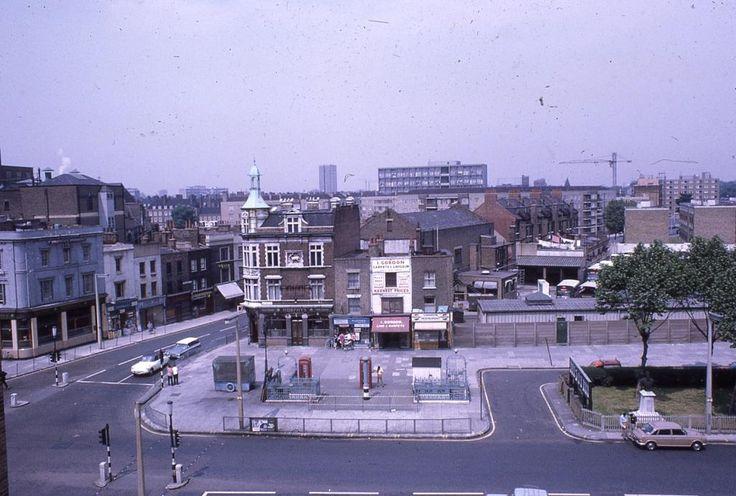 The corner of Whitechapel road and Cambridge Heath Road, London E1. The White Hart Pub. 1970s.