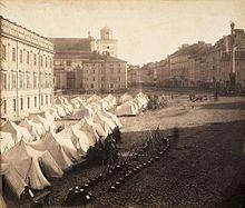 Wojsko rosyjskie na ulicach Warszawy, stan wojenny 1861