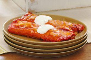 Cremosas enchiladas rojas de pollo receta